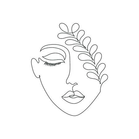 Woman on white background.One line drawing style.Tattoo idea. Фото со стока - 127957069