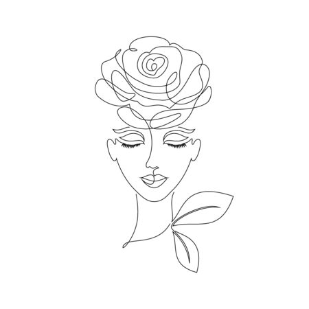Portrait of young girl on white background.One line drawing style.Tattoo idea.