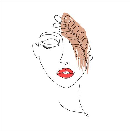 Woman on white background.One line drawing style.Design for t-shirt.