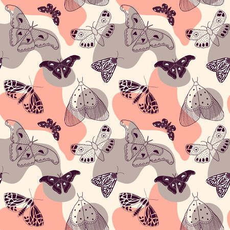 Seamless pattern with hand drawn butterflies and moths on colorful background. It can be used for fabric, surface textures, textile industry and others. Ilustrace