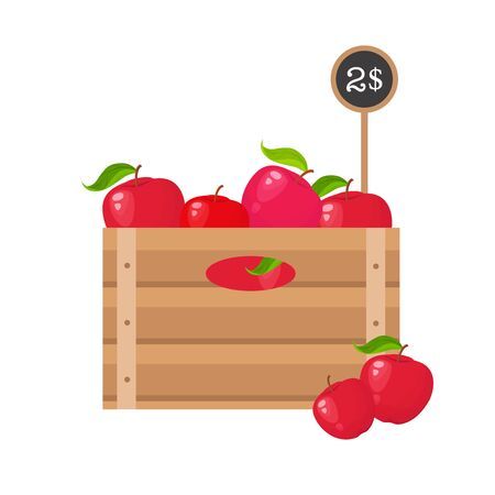 Apples with price tag in wooden grate on white background. Vecteurs