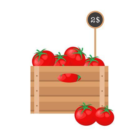 Tomates avec étiquette de prix dans une grille en bois sur fond blanc.