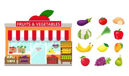 Fruits and vegetables store and set of fruits and vegetables on white background.
