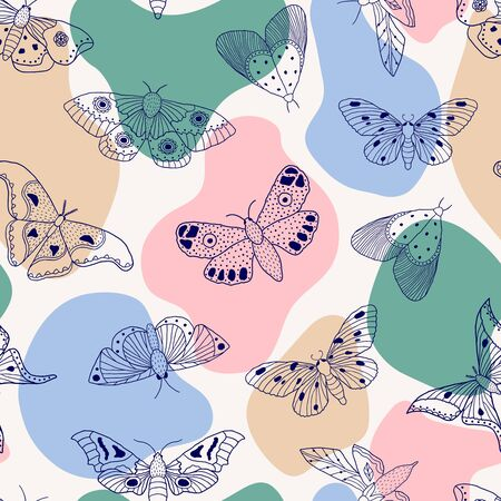 Seamless pattern with hand drawn butterflies and moths on sand background. It can be used for fabric, surface textures, textile industry and others. Stock Illustratie