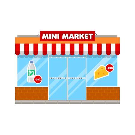Mini market shop in flat style