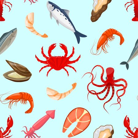Pattern with octopus,fish,shrimp,lobster,squid,oyste