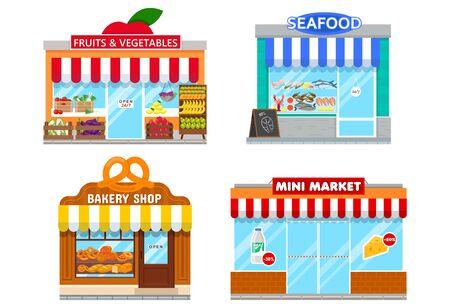 facades of mini stores Illustration