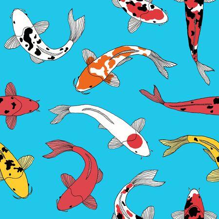 pattern with koi fishes Ilustracja