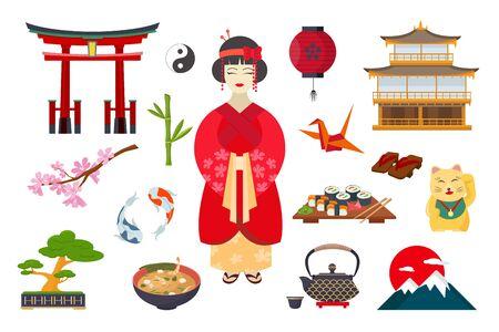 traditional Japanese symbols Ilustracja