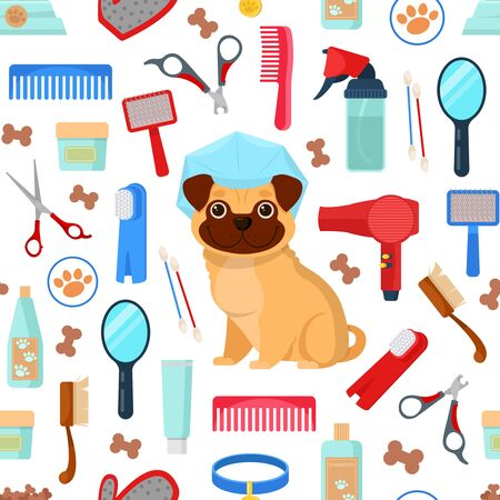 pattern with grooming tools and dog Ilustracja