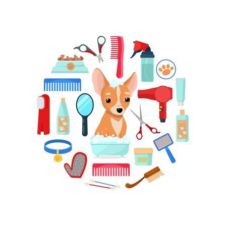 grooming tools and dog Ilustracja
