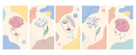 set of flyers minimalist pattern Illustration