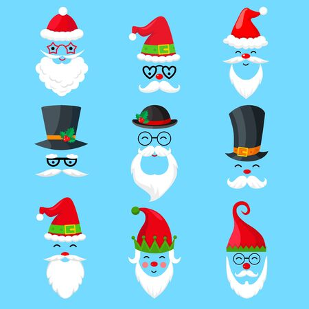 Collection of Christmas Santa Claus icons on blue background. Santas with hat, beard, mustache, glasses.