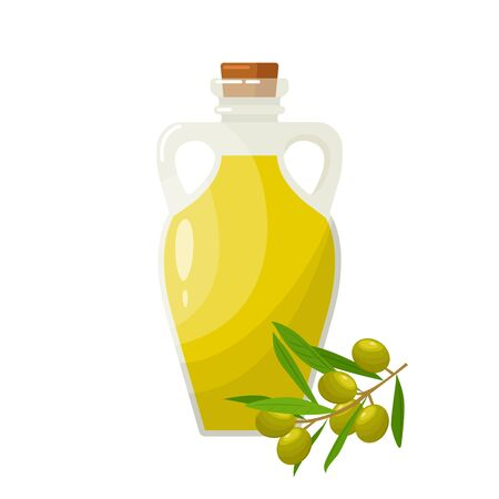 Olive oil in glass jug on white background. Bottle with olive oil and olive branch isolated on white.