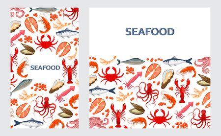Cards, banners, flyers with seafood in flat style on white background