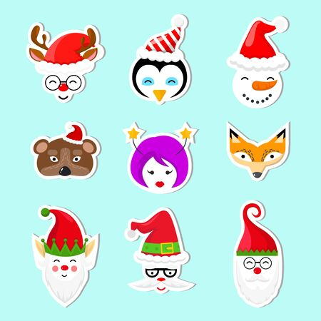 Set of Christmas stickers on blue background. Collection with elf, fox, bear, snowman, girl, Santa, penguin, deer. Çizim