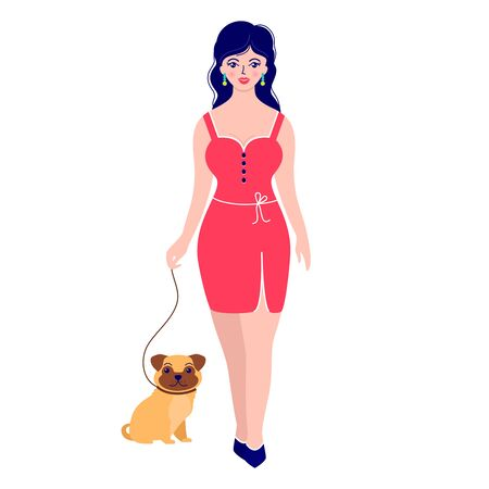 woman with dog illustration