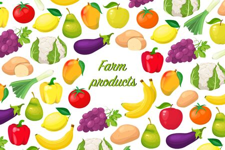 flyer with fruits and vegetables Foto de archivo - 138104911