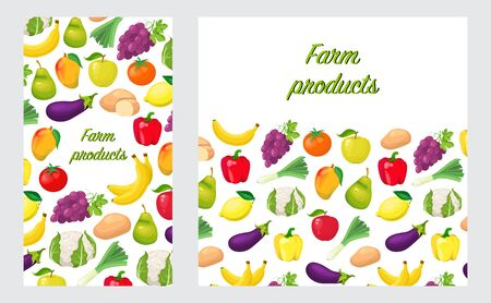 Card, banner or flyer with farm products in flat style on white background Foto de archivo - 138111573