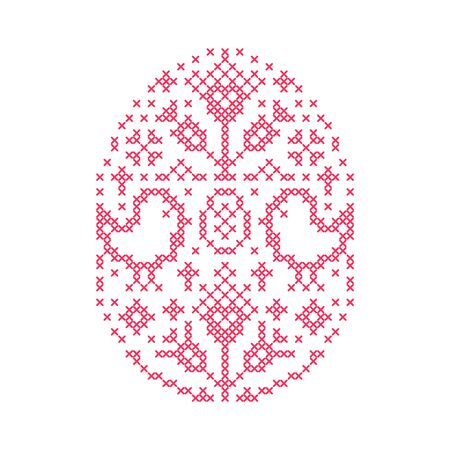 Embroidered Easter egg with chickens and flowers oh white background