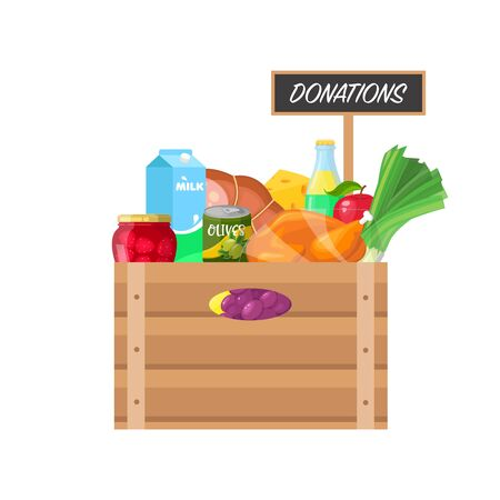 Box with food donations on white background.
