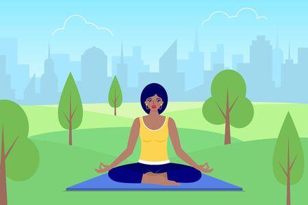 woman meditates sitting on nature. Illusztráció