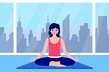young woman meditates Stock Illustratie