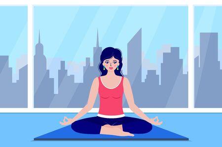young woman meditates Illusztráció