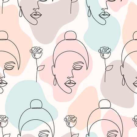 pattern with woman faces,