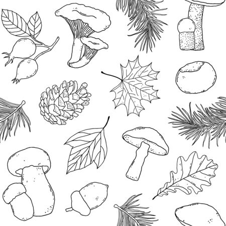 pattern with forest items