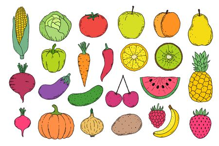 fruits an vegetables icons Vettoriali
