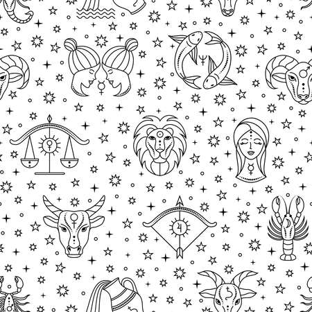 Seamless pattern with zodiac signs