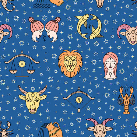 pattern with zodiac signs Illustration