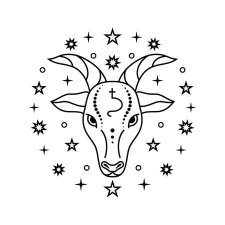 Capricorn zodiac sign on white Illustration