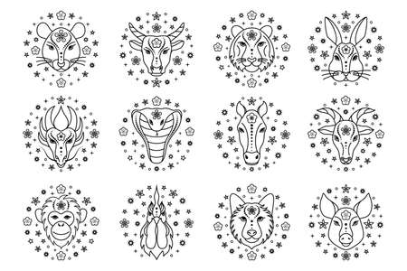 Chinese zodiac signs on white Illustration