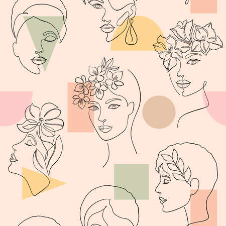 pattern with women faces