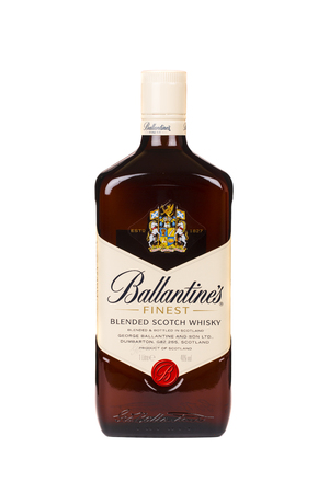 produced: READING MOLDOVA APRIL 7, 2016. Ballantines whisky isolated on white background. Ballantines is blended scotch whisky produced produced by Pernod Ricard in Dumbarton, Scotland. Editorial