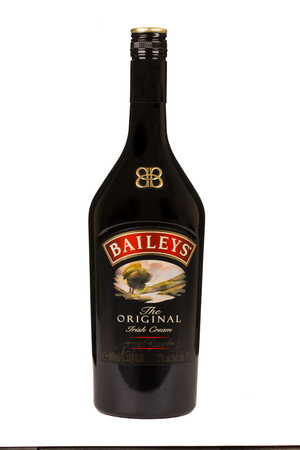 baileys: READING MOLDOVA APRIL 7, 2016: Baileys Irish Cream is an Irish whiskey- and cream-based liqueur, made by Gilbeys of Ireland. Brand currently owned by Diageo.