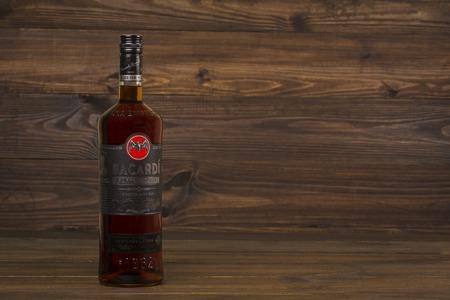 "READING MOLDOVA APRIL 8. 2016 Photo of bottle of ""Bacardi"" CARTA NEGRA Superior white rum."