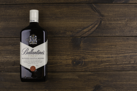 scotch whisky: READING MOLDOVA - APRIL 8, 2016: Ballantines is the worlds second highest selling scotch whisky, produced by Pernod Ricard in Dumbarton, Scotland.editorial