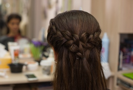 permanent wave: Hairdressing. Wave . Beautiful Natural Hair. Stock Photo