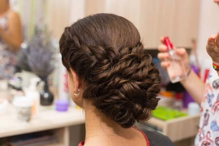 perming: Hairdressing. Wave . Beautiful Natural Hair. Stock Photo