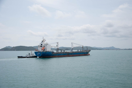 Container Ship come back from oversea in Sattahip Naval Base.