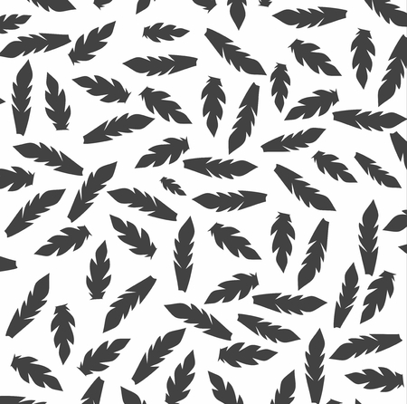 feathering: graphic pattern with decorative black feathers on white background