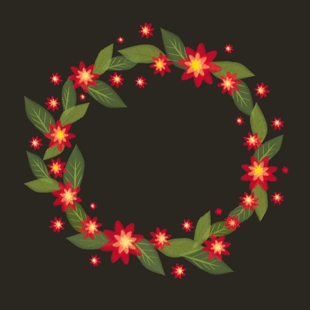 A wreath of red flowers in vector-style embroidery on a black background. Embroidery flower. Embroidery vector flower Stock Illustratie