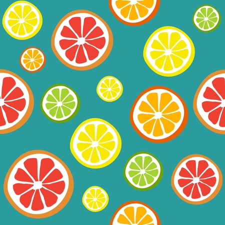 Collection of citrus slices - orange, lemon, lime and grapefruit, icons set, colorful isolated on white background. Rasterized illustration. Vector version in my portfolio