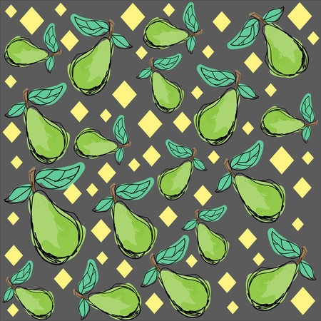 Pattern painted green pear and pale yellow geometric shapes on a gray background