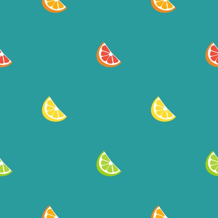 Collection of citrus slices - orange, lemon, lime and grapefruit, icons set, colorful isolated on blue background Illustration