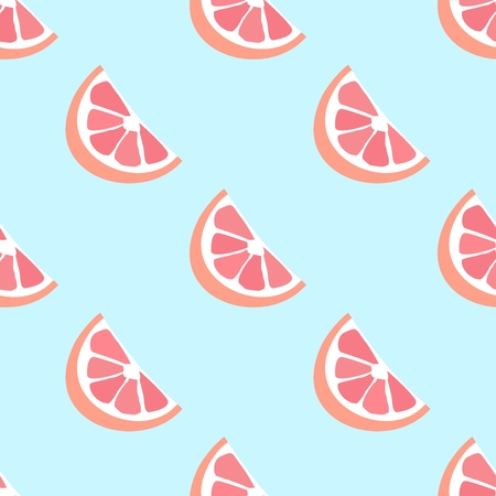 Grapefruit  seamless vector pattern.  Seamless pattern with grapefruit on blue background. Fruit background. Grapefruit slices pattern.