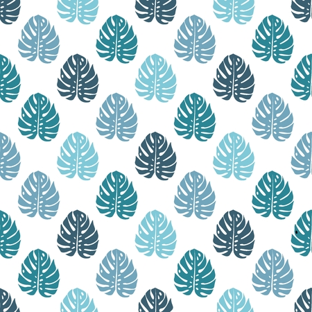 Bluevector pattern with monstera palm leaves on white background. Seamless montera summer tropical fabric